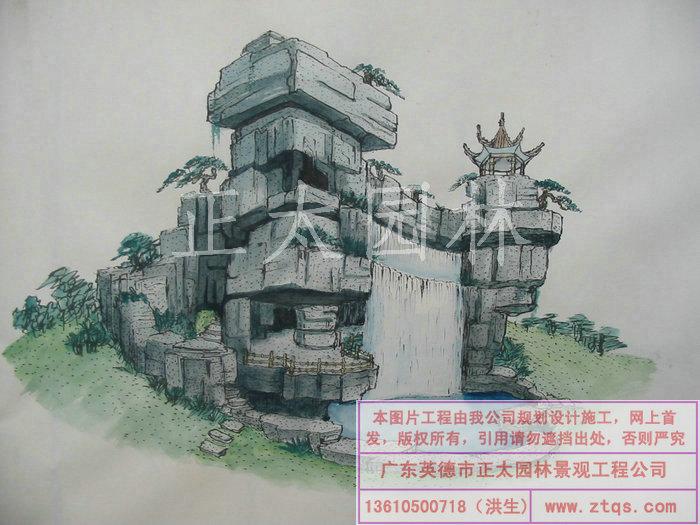 果图 手绘设计图 园林工程 手绘设计图 景观喷泉